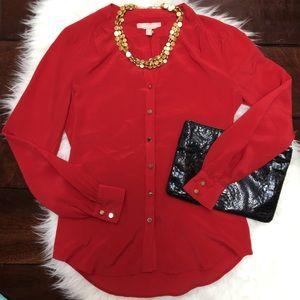 🆕Banana Republic Sz 0 Red Silk Button Up Blouse
